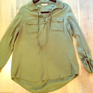 JACK by bbdakota military green lace up top